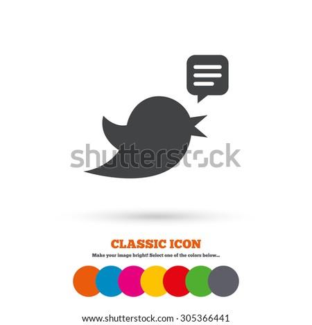Bird icon. Social media sign. Speech bubble chat symbol. Classic flat icon. Colored circles. Vector - stock vector