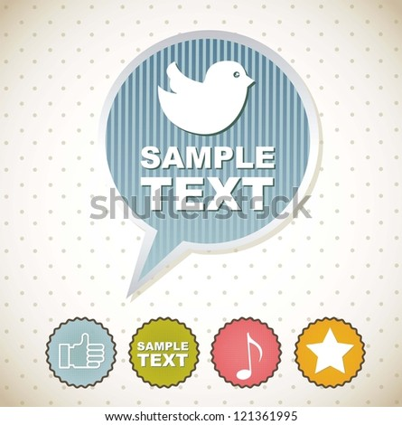 bird icons over balloon text with labels. vector illustration - stock vector
