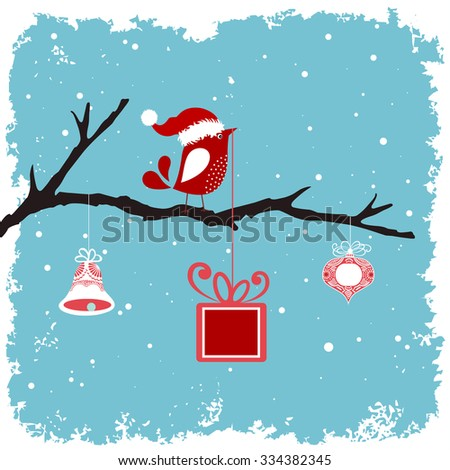 bird in a santa hat on a branch with bell bauble and gift -Winter grunge snowy background  - stock vector