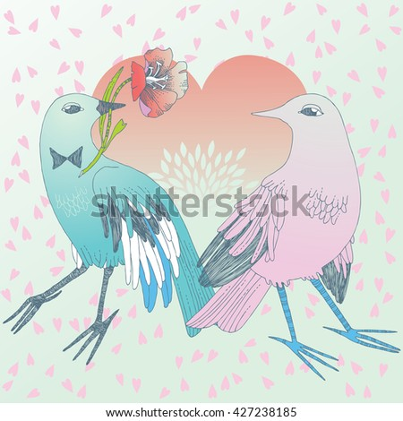 Bird in love, giving the flower to its sweetheart - stock vector