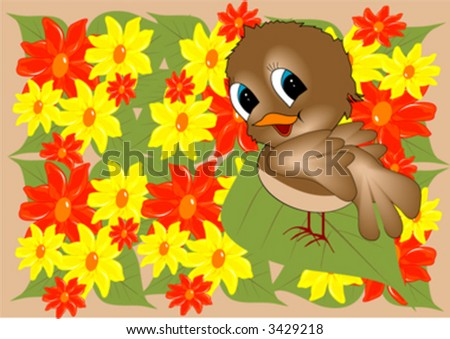 bird in yellow and red  flowers