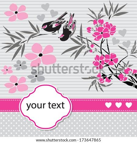 bird invitation card vector illustration - stock vector