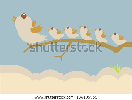 bird leadership concept - stock vector