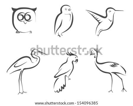 Bird lined design - stock vector