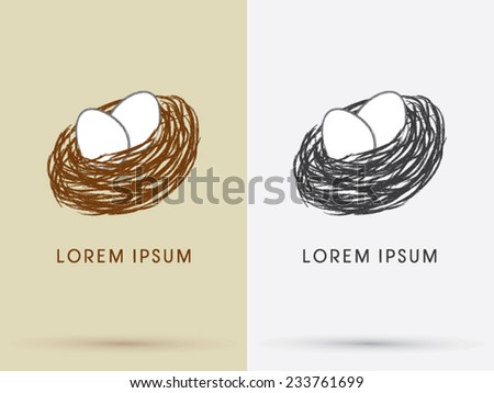 Bird nest and Eggs  icon, symbol, logo, Vector. - stock vector