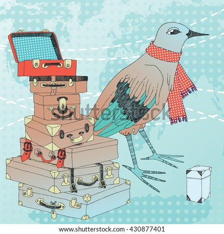 Bird of passage and its pile of suitcases - stock vector