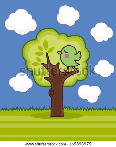 bird on a tree - stock vector