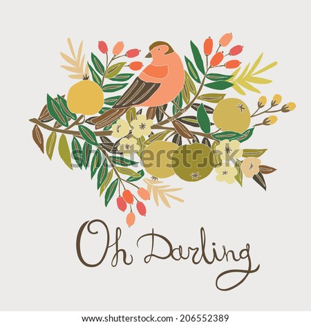 Bird on flower branch - stock vector