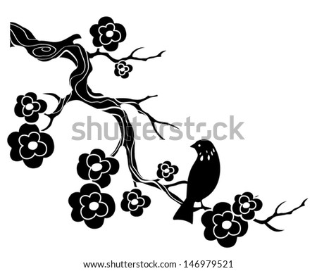 Bird on twig with flowers - stock vector