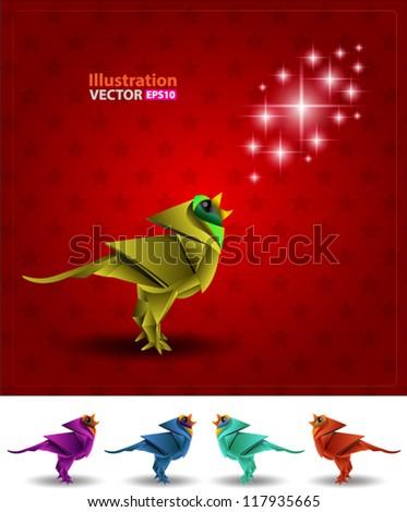 Bird origami light - stock vector