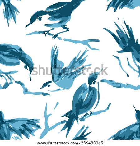 bird seamless pattern can be used for wallpaper, website background, textile printing - stock vector