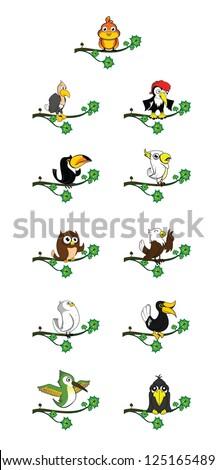 bird set with tree branch - stock vector