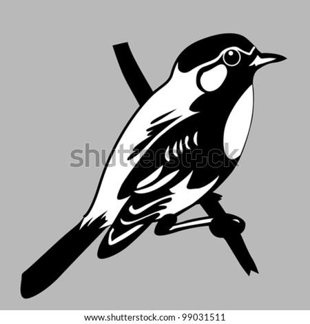 bird silhouette on gray background, vector illustration - stock vector