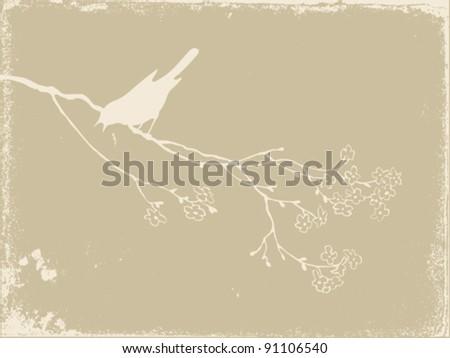 bird silhouette on old paper, vector illustration - stock vector