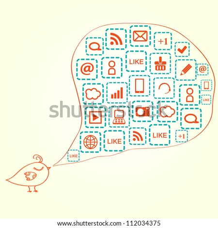 Bird Silhouette with Social Media Icons in Bubble Speech. Vector Illustration - stock vector