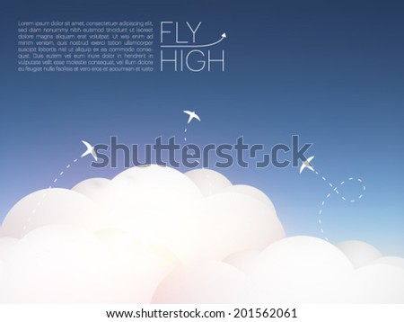 bird silhouettes above the clouds - vector illustration - stock vector