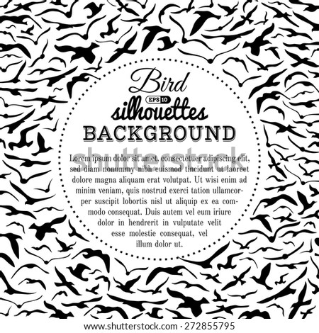 Bird silhouettes background. Black and white vector background. There is copy space for text in the center.