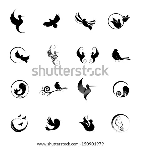 Bird Silhouettes Set - Isolated On White Background - Vector Illustration, Graphic Design Editable For Your Design. - stock vector
