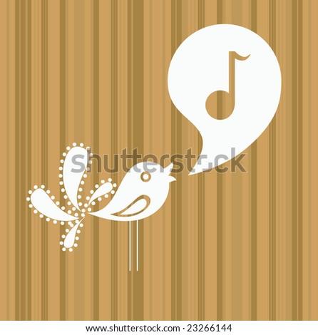 bird singing - stock vector