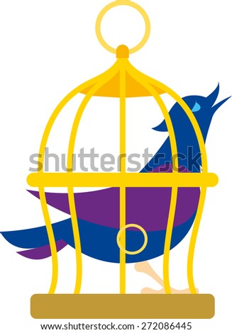 bird that sits in cage and sing - stock vector