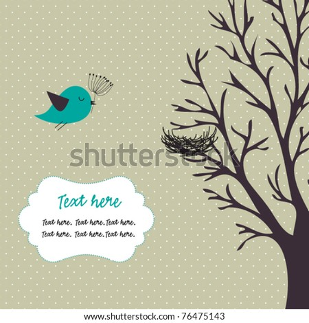 Bird,tree and nest - stock vector