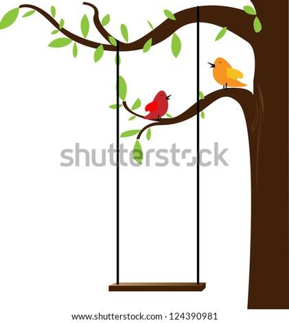 Bird tree vector - stock vector