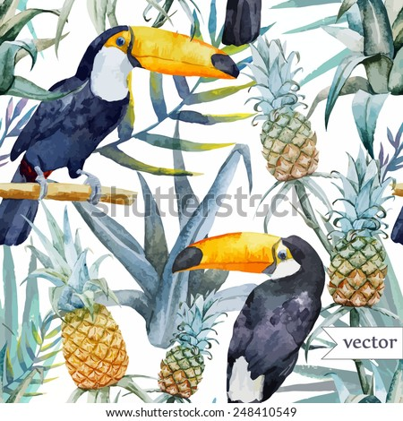 bird, tropical, palm tree, watercolor, pineapple, pattern, wallpaper, toucan - stock vector