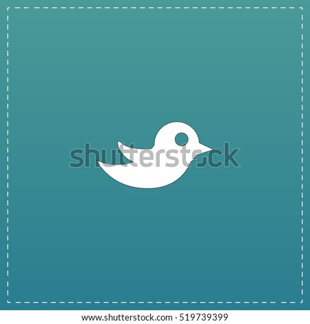 Bird. White flat icon with black stroke on blue background