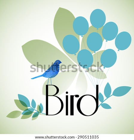 bird with balloons leaves  - stock vector
