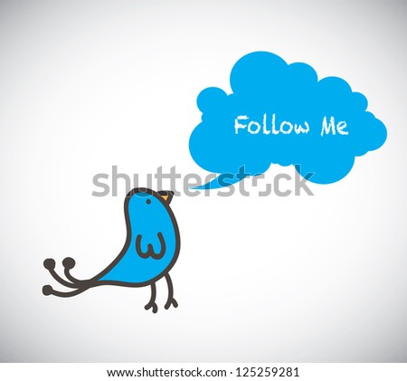 Bird with bubble in signal of follow me over white background - stock vector