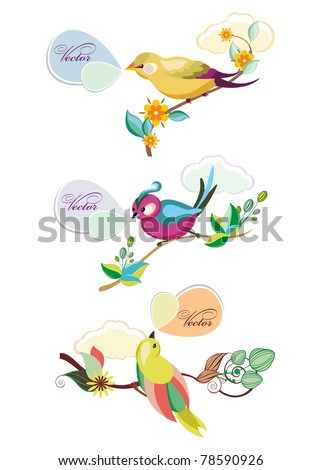 bird with bubbles - stock vector