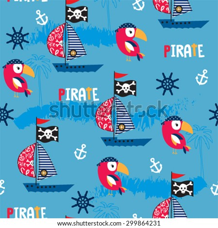 bird with pirate ship seamless pattern background vector illustration - stock vector