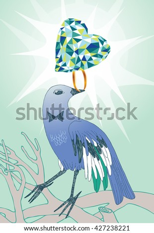 Bird with the brilliant ring - stock vector