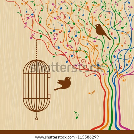 Birdcage On The Musical Tree. Vector - stock vector
