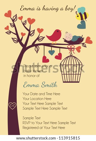 Birds and Bees Baby Shower Invitation - stock vector