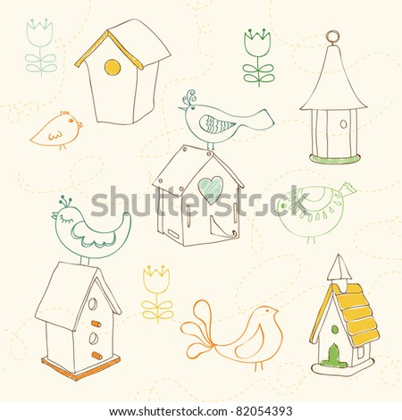 Birds and Bird Houses doodles - for design and scrapbook - stock vector