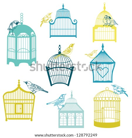 Birds and Birdcages Collection - for design or scrapbook - in vector - stock vector