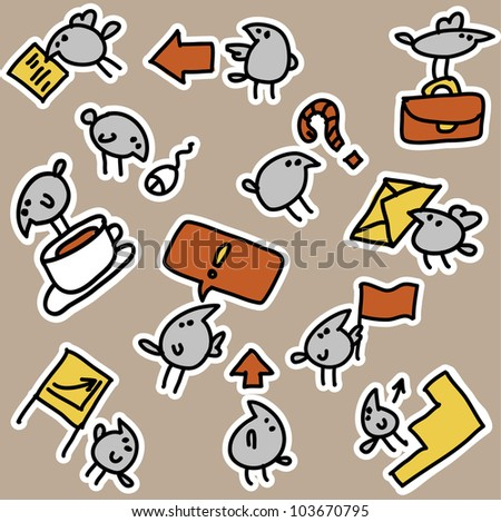 Birds and business objects an icons seamless pattern The seamless pattern with business objects and little funny birds. Color vector illustration. - stock vector