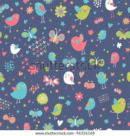 Birds and butterflies. Funny cartoon seamless pattern in cool colors - stock vector