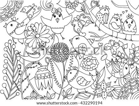 Dieren Jarig Kleurplaat A4 Kleurplaten Voor Volwassen Vogels Bloemen Kleurplaten En