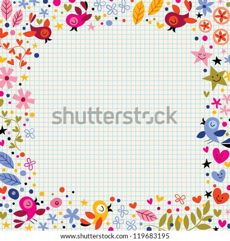 Birds and flowers cute background with space for your text