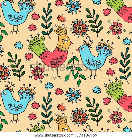 Birds and flowers hand drawn pattern.