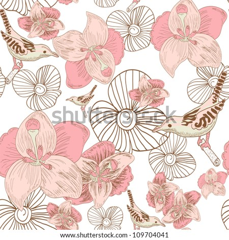 Birds and flowers seamless pattern - stock vector