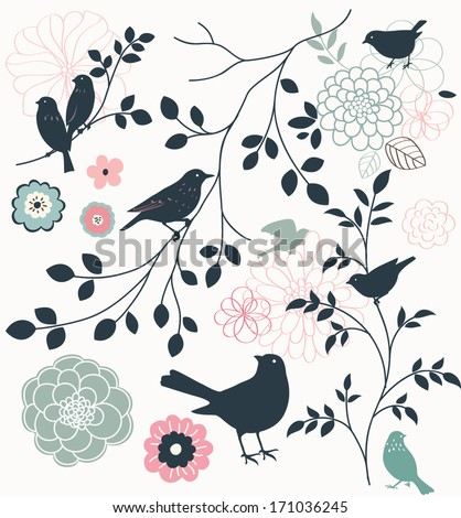 Birds and flowers. set - stock vector