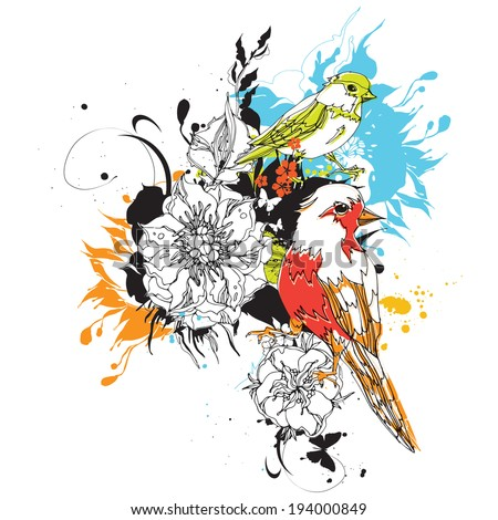 Birds and flowers vector eps10  - stock vector