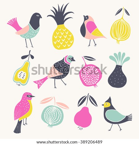 Birds and Fruits. Print Design - stock vector
