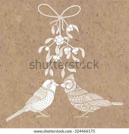 Birds and mistletoe. Vector illustration on kraft paper. Christmas cartoon background - stock vector
