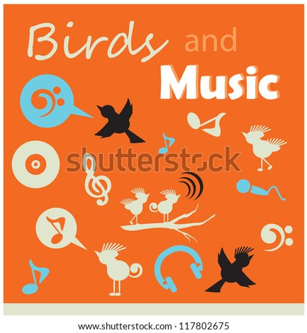 birds and music silhouette icons sets - stock vector