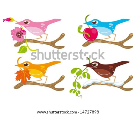birds and seasons - stock vector