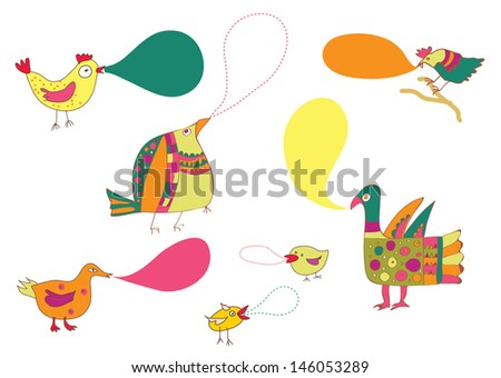 Birds and speak bubbles funny design set - stock vector